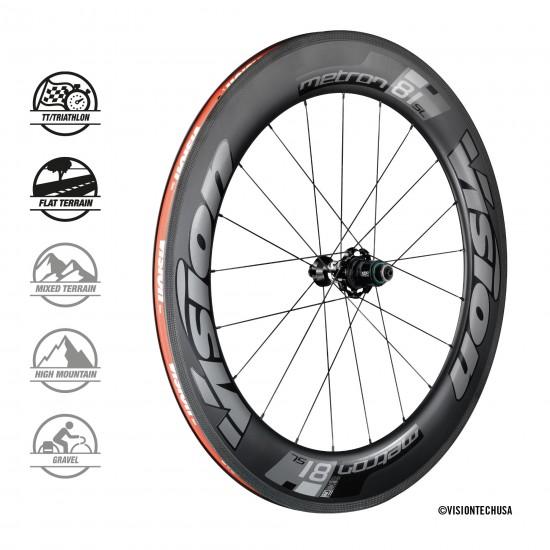 Vision Metron 81 SL felni fékes országúti karbon kerék, kerékszett (peremes, tubeless)